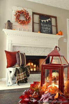 lantern and fall mantel