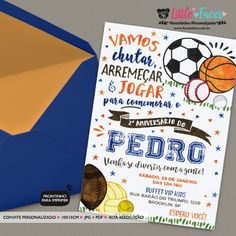 Convite Aniversário Esportes para imprimir