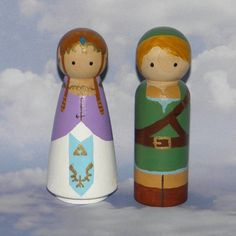 Zelda & Link wooden peg doll cake topper couple, hand-painted by etsy seller MyLittleNiche. $42.50