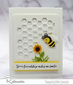 I think bumblebees can be so cheerful and they certainly make us feel like spring WILL come! This white on white card with its pops of yellow and black in the bee and the sunflower can be used for so many different occasions. Come on over and get my insider tips and make a stack to have ready to send!
