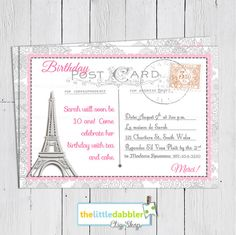 Poodles and paris baby shower invitation paris baby shower french invite stopboris Gallery