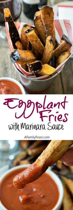 Fries with Marinara Sauce Eggplant Fries with Marinara Sauce - A delicious twist on a classic recipe.Eggplant Fries with Marinara Sauce - A delicious twist on a classic recipe. Low Carb Recipes, Cooking Recipes, Healthy Recipes, Vegetable Recipes, Vegetarian Recipes, Eggplant Fries, Eggplant Dishes, Good Food, Yummy Food
