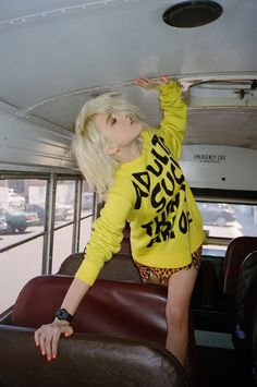 Sky Ferreira is pretty in punk inspired looks for ASOS Magazine Shop these pieces Photographer: Jason Lee Parry Styled by: Zeba Lowe Makeup/Hairby: Gloria Noto + Alex Polillo BLEACH BLONDE SHORT HAIR YELLOW GRAPHIC SWEATER ADULTS SUCK AND THEN YOU ARE ONE LEOPARD PRINT SKIRT