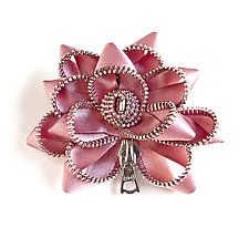 "Pink Satin Zipper Pin by Kate Cusack (Zippered Brooch) (3"" x 3"")"