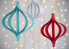 You don't even need the most basic origami skills to make these modern paper ornaments.
