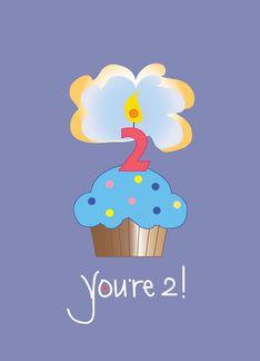Youre 2 Cupcake Birthday Card