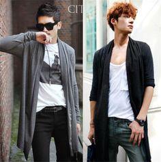 Fashion trend Men's Coat Long-sleeved Knit Cardigan Sweater Conditioning Shirt | eBay