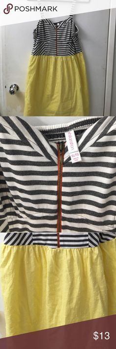 🆕 Xhilaration Striped Dress ✨Brand New!✨ Super cute Xhilaration midi dress striped gray & white bodice with front zipper & textured yellow bottom. Smocked elastic stretch back. Size XL (TTS). Never worn & no flaws. 🚫No Trades or Paypal. 👍15% off 3+ item bundles! Xhilaration Dresses Midi
