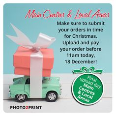 Final day for Local and Major Centres. Get your orders in before 11am today, 18 December!   We are closing @ 12:00pm on Thursday 21st December 2017, but our servers will stay open 24/7 to receive your orders! #hurrynow #lastdaytoupload #photo2print