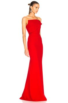 Roland Mouret Lockton Double Wool Crepe Gown in Poppy Red | FWRD