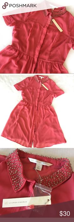 LC Lauren Conrad Coral Button Dress NWT Lauren Conrad Short Sleeve Button Up Dress. Sheer Chiffon Coral Material Lined. Shoulder Area Sheer. Collar Embellished with Beads. LC Lauren Conrad Dresses Mini