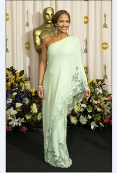 Jennifer Lopez One Shoulder Celebrity Evening Gown Oscar 2003