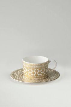 Caskata Hawthorne Gilt Cup and Saucer