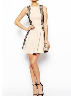 Womens Casual Dress - Sleeveless / Cream/ Black Lace Panels