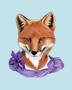 Etsy の Fox Lady art print 8x10 by berkleyillustration
