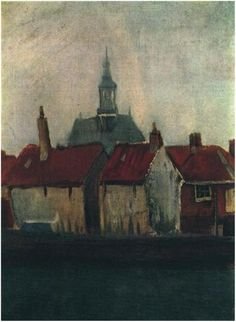 Vincent van Gogh ~ Cluster of Old Houses with the New Church in The Hague, Holland 1882 (private collection)