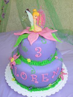 Tinkerbell Birthday cake (love that her name is spelled the same as mine) Tinkerbell Birthday Cakes, 4th Birthday Cakes, Fairy Birthday Party, Tinkerbell Party, Birthday Ideas, Cupcakes, Cupcake Cakes, Beautiful Cakes, Amazing Cakes