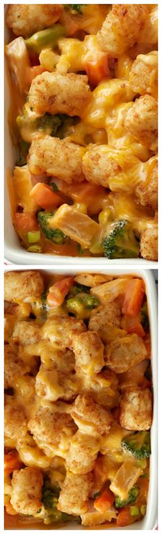Cheesy Tater-Topped Chicken Casserole ~ Quick one-dish meal, topped in potato nuggets... With chicken, cheese and veggies, too, it's both delicious and well-rounded