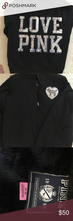 Victoria's Secret PINK black jacket Black jacket with grey sequins with fur on the inside. It's a size medium and has only been worn a couple times. No signs or wear, in perfect condition. PINK Victoria's Secret Jackets & Coats