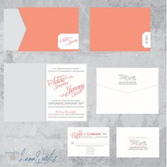 Coral and Silver Wedding Invitation Whimsical and by LamaWorks
