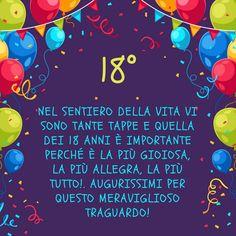 Nel sentiero della vita vi sono tante tappe e quella dei 18 anni è importante perché è la più gioiosa, la più allegra, la più tutto!. Augurissimi per questo meraviglioso traguardo! Party Co, Good Morning, Improve Yourself, Diy Crafts, Birthday, 18th, Smile, Google, Costumes