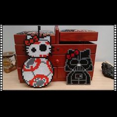 BB-8 and Dart Vader - Star Wars Hello Kitty hama beads by victoria_dejean