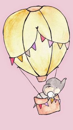 Elephant and little bunny in hot air balloon
