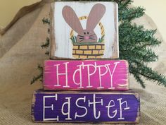 Primitive Country Bunny Rabbit n Basket Happy Easter Shelf Sitter Wood Block Set #PrimtiveCountry