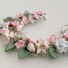 Enchanted Garden Charm Bracelet  Polymer Clay by beadscraftz, $125.00