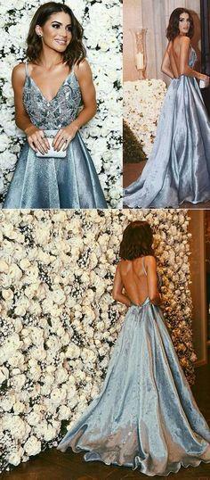 A-line Straps Prom Dresses,Blue Long V neck Prom Dress,Backless Formal Evening Dress, G024
