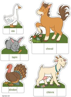 Farm animals in French. Les animaux de la ferme, oie, cheval, dindon, chèvre, lapin