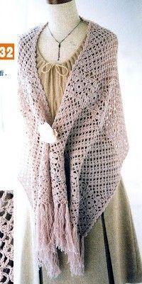 Free diagram pattern Shawl, wrap, scarf, coverup, prayer shawl Crochet   étole beige