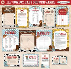 Cowboy Baby Shower Games Western Theme Boy Baby by thepartystork