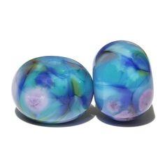 Rivera Blue   Round Lampwork Bead Pair  Handmade by FireandFibers, $8.00