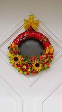 Jarný, letný, jesenný....farebný venček zo stúh  červený klasy a slnečnice
