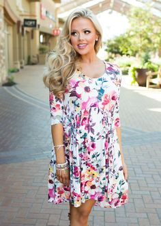 Boutique, Online Boutique, Women's Boutique, Modern Vintage Boutique, Dress, Floral Dress, 3/4 Sleeve Dress, Multicolor Dress, White Dress, Cute, Fashion