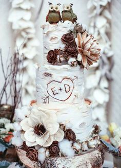 A fabulous three-tiered cake resembles a rustic birch log with the happy couples' initials etched into it. Wedding Cakes, Cake Decorating, Winter Wedding