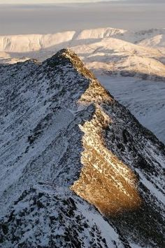 Lake District National Park - Striding Edge on Helvellyn by Dominic Donnini. Would not attemp it in winter. Cumbria, Lake District, Moon Over Water, English Countryside, Beautiful Places, Peaceful Places, Great Britain, That Way, The Great Outdoors
