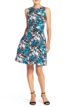 Print Faille Fit & Flare Dress