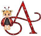 Alfabeto tintineante de nena disfrazada de mariquita.