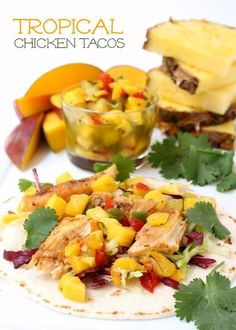 Slow-cooked chicken with just a little spice, served with store bought pineapple-mango salsa!