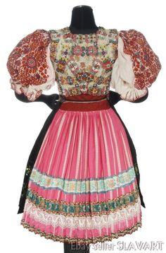 SLOVAK FOLK COSTUME Abelova embroidered blouse apron beaded vest skirt PINK kroj