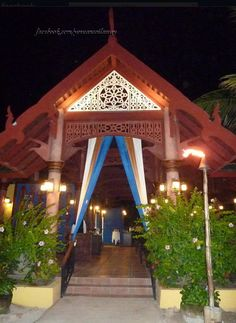 Entrance to Royal Thai restaurant on Sandals Royal Caribbean private island.