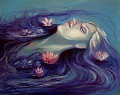 Kamille Freske #bleaq #dark #art #painting #woman #ophelia