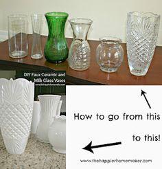 The Happier Homemaker: DIY White Faux Ceramic and Milk Glass Vases