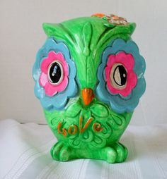 Vintage Owl Bank Psychadelic Chalkware Green by TheOwlLady on Etsy, $37.00 to go with Sparrows piggy bank collection.