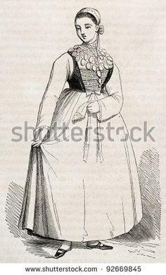 Lusatia woman in traditional costume old illustration (easter Germany region). By unidentified author, published on Magasin Pittoresque, Paris, 1845 by Antonio Abrignani, via ShutterStock