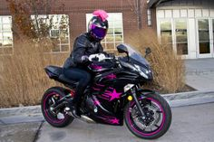 Girl biker on her motorcycle with hot pink accents   Flickr - Photo Sharing!