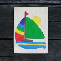 Sailboat Wooden Puzzle - fun sets sail with this 13 piece puzzle, perfect for 4-5 year olds.