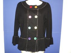 Michael Simon Size SMALL Cardigan Sweater Black 3/4 Sleeves Colorful Accents  | eBay